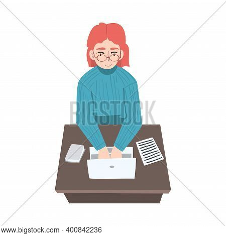 Female Journalist Sitting At Desk Writing Article Or Essay On Laptop Vector Illustration