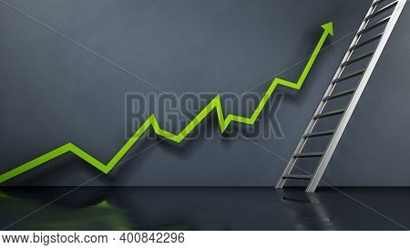 Rising Sales Arrow Leading To The Ladder. Business And Marketing Concept. 3d Illustration.