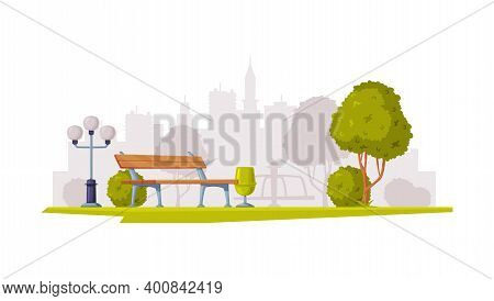 Cityscape View With Streetlight And Bench Vector Illustration