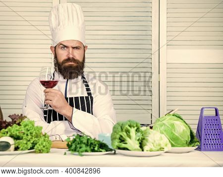 Wine Degustation. Match Wine And Food Like Expert. Man Wear Hat And Apron Enjoy Taste Drink. Master