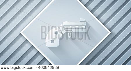 Paper Cut Small Gun Revolver Icon Isolated On Grey Background. Pocket Pistol For Self-defense. Ladie