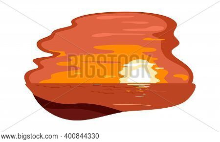 Tropical Sunset Over Coast, Exotic Paradise, Panorama View. Vector Burning Orange Sun Hiding Over Ho