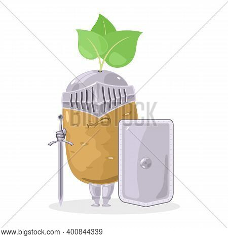 Vegetable In Peel With Sword And Protective Shield. Vector Veggie In Armor, Caricature Character, Ha