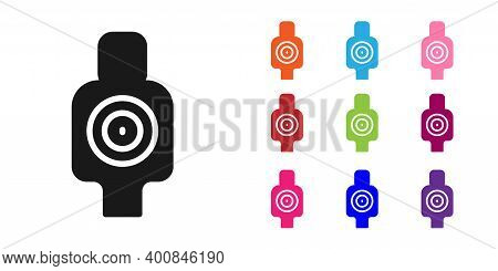 Black Human Target Sport For Shooting Icon Isolated On White Background. Clean Target With Numbers F