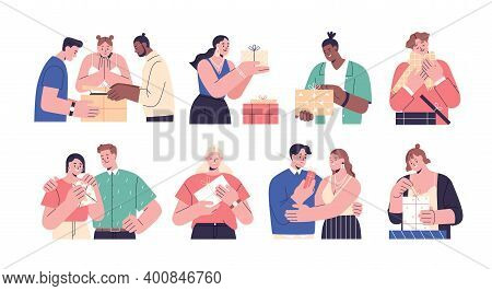 Collection Of Happy People Opening Gift Boxes Vector Flat Illustration. Scenes With Man, Woman And C