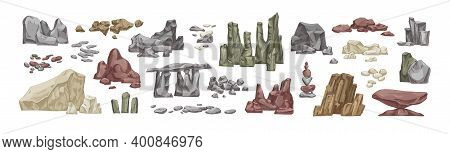 Set Of Various Stone And Rock Hand Drawn Vector Illustration In Realistic Style. Bundle Of Detailed