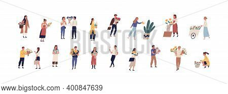 Collection Of Different People Walking On The Street With Flowers And Potted Plants Vector Flat Illu