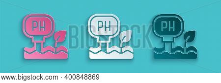 Paper Cut Soil Ph Testing Icon Isolated On Blue Background. Ph Earth Test. Paper Art Style. Vector