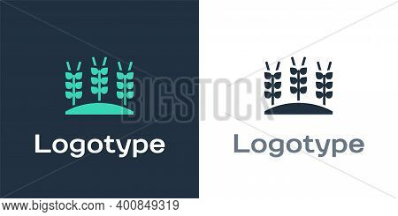 Logotype Cereals Set With Rice, Wheat, Corn, Oats, Rye, Barley Icon Isolated On White Background. Ea