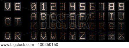 Digital Scoreboard. Digital Numbers And Alphabet. Electronic Display Board. Orange Alphabet On Black