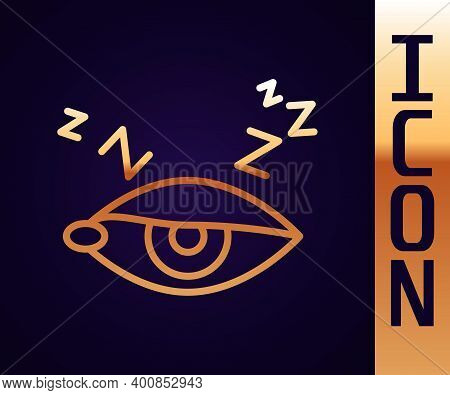 Gold Line Insomnia Icon Isolated On Black Background. Sleep Disorder With Capillaries And Pupils. Fa