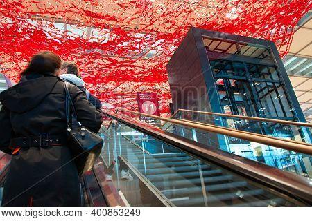 Schönefeld, Germany - November 1, 2020 - Passengers At Berlin Brandenburg Airport (willy Brandt Airp