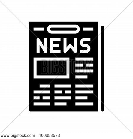Newspaper With News Articles Glyph Icon Vector. Newspaper With News Articles Sign. Isolated Contour