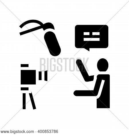 Recording News Glyph Icon Vector. Recording News Sign. Isolated Contour Symbol Black Illustration