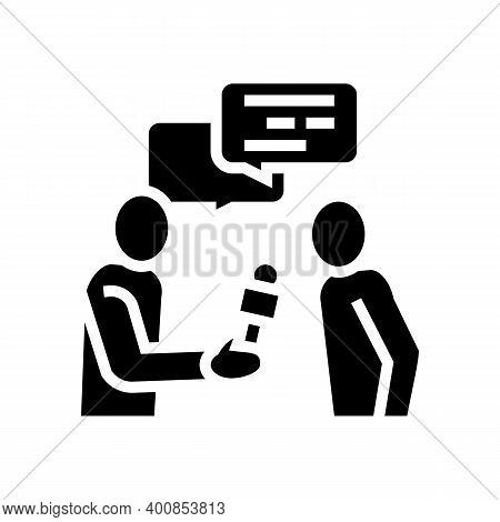 Interview Journalist Glyph Icon Vector. Interview Journalist Sign. Isolated Contour Symbol Black Ill