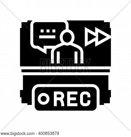 Rewind Recording News Glyph Icon Vector. Rewind Recording News Sign. Isolated Contour Symbol Black I