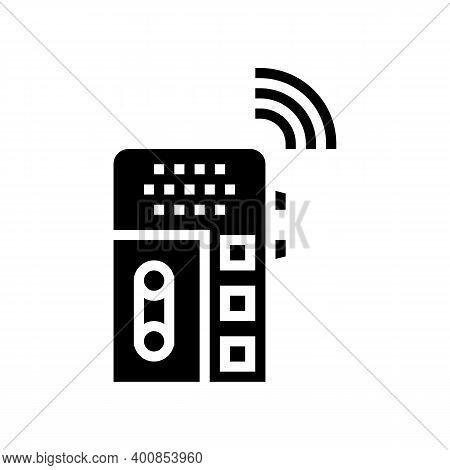 Dictaphone, Voice Recorder Gadget Glyph Icon Vector. Dictaphone, Voice Recorder Gadget Sign. Isolate