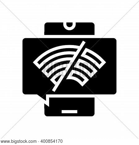 Wifi Disconnected Mobile Phone Glyph Icon Vector. Wifi Disconnected Mobile Phone Sign. Isolated Cont
