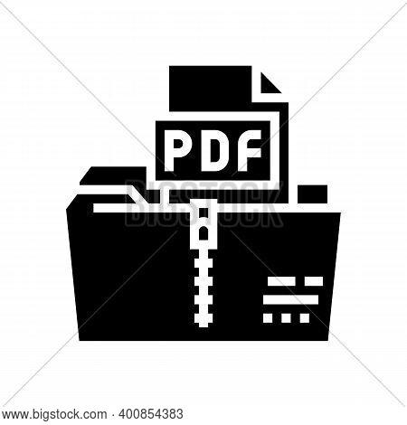 Archiving Pdf File Glyph Icon Vector. Archiving Pdf File Sign. Isolated Contour Symbol Black Illustr