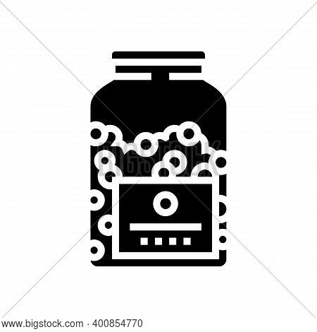 Bottle Peas Glyph Icon Vector. Bottle Peas Sign. Isolated Contour Symbol Black Illustration