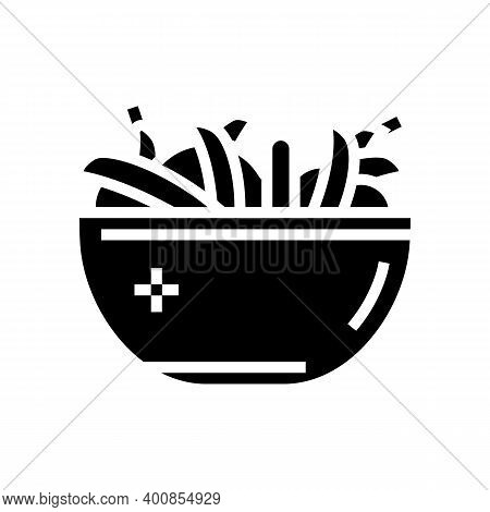 Fresh Peas In Plate Glyph Icon Vector. Fresh Peas In Plate Sign. Isolated Contour Symbol Black Illus