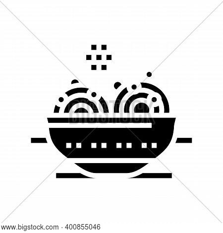Food With Peas Glyph Icon Vector. Food With Peas Sign. Isolated Contour Symbol Black Illustration
