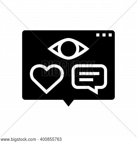 Vision, Likes And Comments Of Video Glyph Icon Vector. Vision, Likes And Comments Of Video Sign. Iso