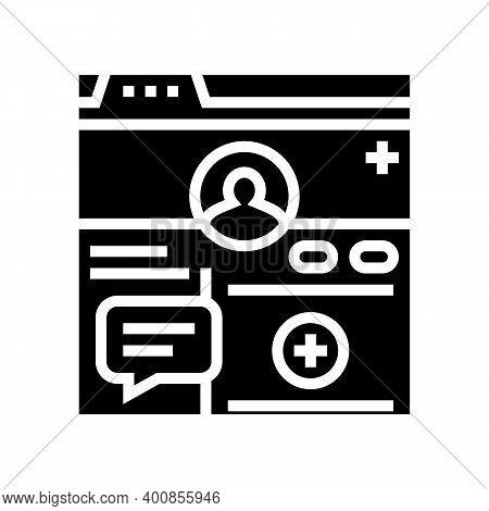 Registration Social Page Glyph Icon Vector. Registration Social Page Sign. Isolated Contour Symbol B