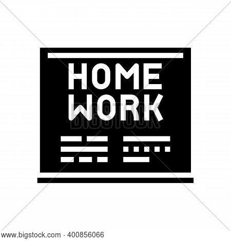 Homework On Blackboard Glyph Icon Vector. Homework On Blackboard Sign. Isolated Contour Symbol Black