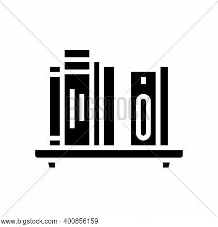 Bookshelf With Books Glyph Icon Vector. Bookshelf With Books Sign. Isolated Contour Symbol Black Ill
