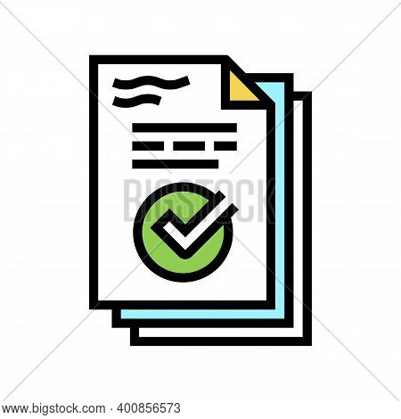 Work Report Color Icon Vector. Work Report Sign. Isolated Symbol Illustration