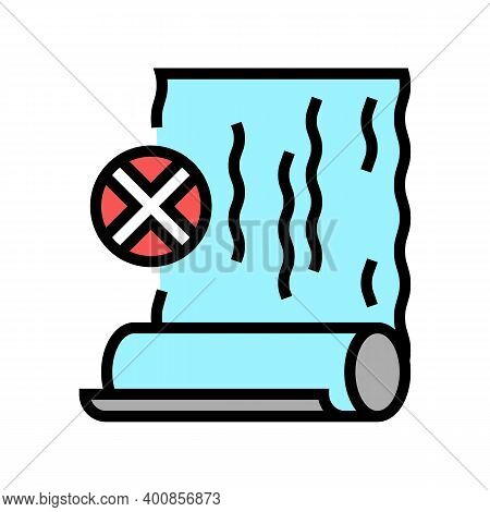 Damaged Badly Pasted Wallpaper Color Icon Vector. Damaged Badly Pasted Wallpaper Sign. Isolated Symb