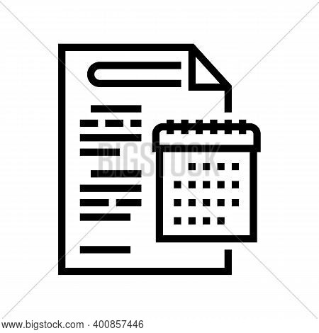 Annual Report Line Icon Vector. Annual Report Sign. Isolated Contour Symbol Black Illustration