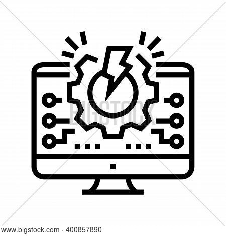 Overload System Line Icon Vector. Overload System Sign. Isolated Contour Symbol Black Illustration