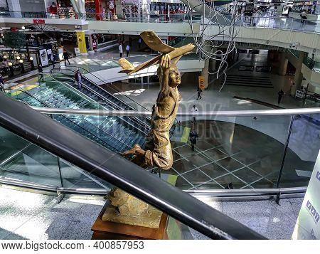 Turkey, Ankara - October 24, 2019: Sculpture Of A Boy With Airplane Inside Ankara Esenboga Airport.