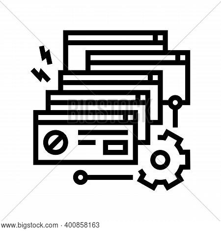 Crash System Line Icon Vector. Crash System Sign. Isolated Contour Symbol Black Illustration