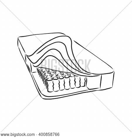 Bed Mattress Icons Divided Quick Sketch Handdrawn Style. Mattress Vector Sketch Illustration