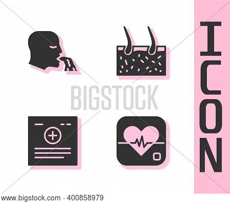 Set Heart Rate, Vomiting Man, Clinical Record And Hair Covering Skin Icon. Vector
