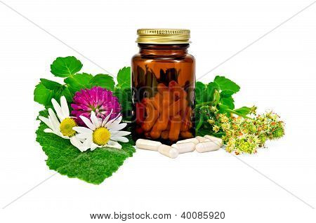 Capsules in a brown sealed jars with herbs