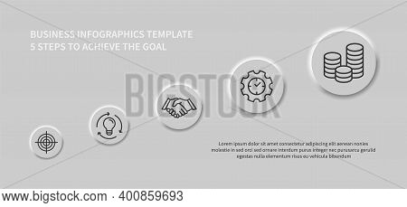 Business Infographics With Round Template Design, 5 Steps To Achieve The Goal. Business Management.