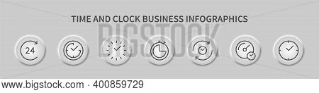 Time And Clock, Business Infographics With Round Template Design. Time Management. Timer, Speed, Rec