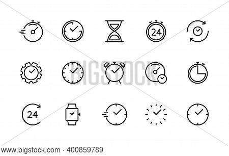 Time And Clock Vector Linear Icons Set. Time Management. Timer, Speed, Alarm, Recovery, Time Managem