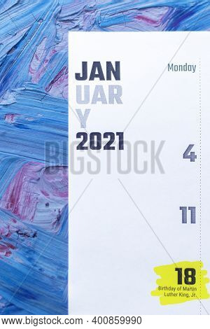 January 2021 Calendar. January 18 Highlighted With Marker. Birthday Of Martin Luther King
