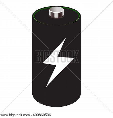 Isolated Icon. Full Battery Charge.symbol For Phones, Tablets, Digital Devices. Full Of Energy 100 .