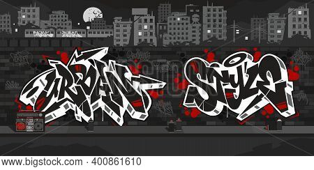 Urban Style Graffiti Wall With Drawings At Night Against The