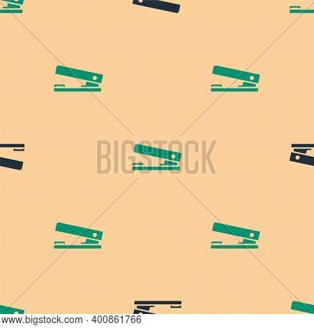Green And Black Office Stapler Icon Isolated Seamless Pattern On Beige Background. Stapler, Staple,