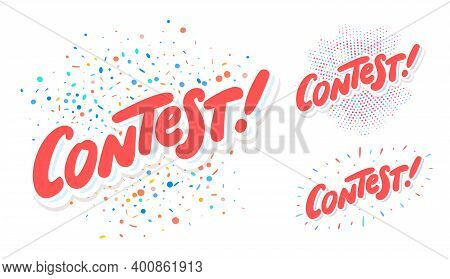 Contest. Vector Hand Drawn Banners Set. Vector Illustration.