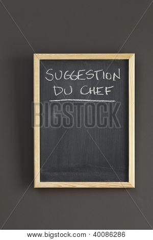 Suggestion Du Chef On Blackboard
