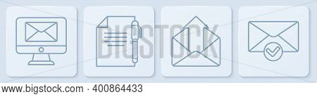 Set Line Monitor And Envelope, Outgoing Mail, Document And Pen And Envelope And Check Mark. White Sq