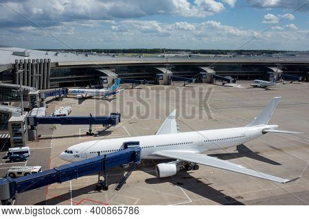 July 2, 2019, Moscow, Russia. Airplane Airbus A330-300 I-fly Airline At Vnukovo Airport In Moscow.